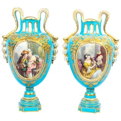 Antique Pair of French Sevres Porcelain Bleu Celeste Vases, 18th Century