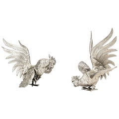 Antique Pair of French Silver Plated Fighting Cockerels, 19th Century