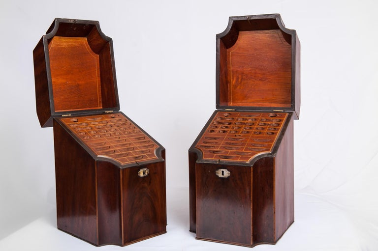 British Antique Pair of George III Mahogany Knife Boxes, 1760-1820 For Sale