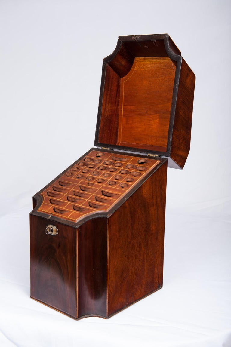 18th Century Antique Pair of George III Mahogany Knife Boxes, 1760-1820 For Sale