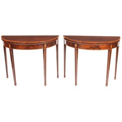 Antique Pair of George IV Flame Mahogany Console / Card Tables, 19th Century