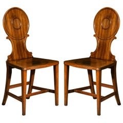 Antique Pair of Georgian Hall Chairs, Late 18th Century