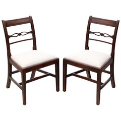 Antique Pair of Georgian Mahogany Dining Side Hall Bedroom Chairs, circa 1800
