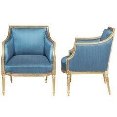 Antique Pair of Georgian Painted and Gilded Armchairs, Late 18th Century