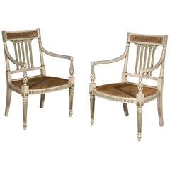 Antique Pair of Georgian Regency White Painted Armchairs