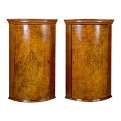 Antique Pair of Georgian Revival Corner Cabinets, English, Burr Walnut
