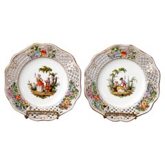 Antique Pair of German Meissen Pictorial & Reticulated Porcelain Plates