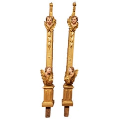 Antique Pair of Gilded Uprights / Columns with Cherubs, 18th Century, Italy