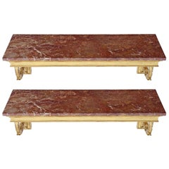 Antique Pair of Gilt and Marble Console Tables Harrods Mid-20th Century