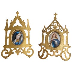 Antique Pair of Gilt Brass Gothic Photo Frames with Miniature Saint Paintings