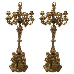 Antique Pair of Gilt Bronze 10-Arm Candelabra