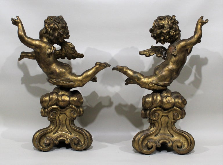 19th Century Antique Pair of Gilt Carved Wood Putti Figures For Sale