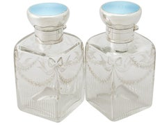 Antique Pair of Glass Sterling Silver and Enamel Cologne Bottles