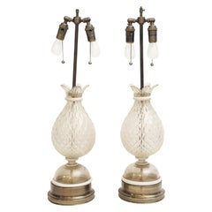 Antique Pair of Gold Flecked Murano Glass Table Lamps from Italy, 1940s