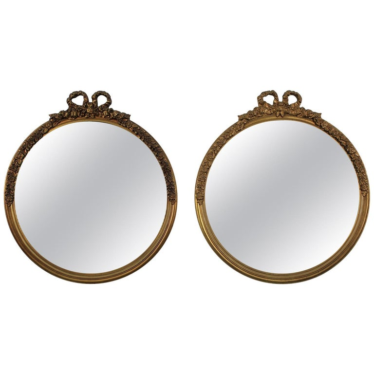 Antique Pair of Gold Gilt Hand Carved Wood French Baroque Style Mirror For Sale
