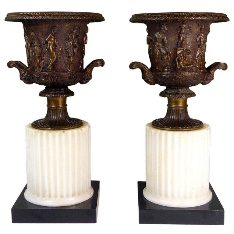 Antique Pair of Grand Tour Borghese or Medici Bronze Campana Urns Vases Marble