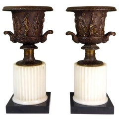 Antique Pair of Grand Tour Borghese or Medici Bronze Campana Urns Vases Marble