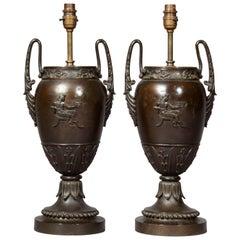 Antique Pair of Grand Tour Bronze Urn Lamps
