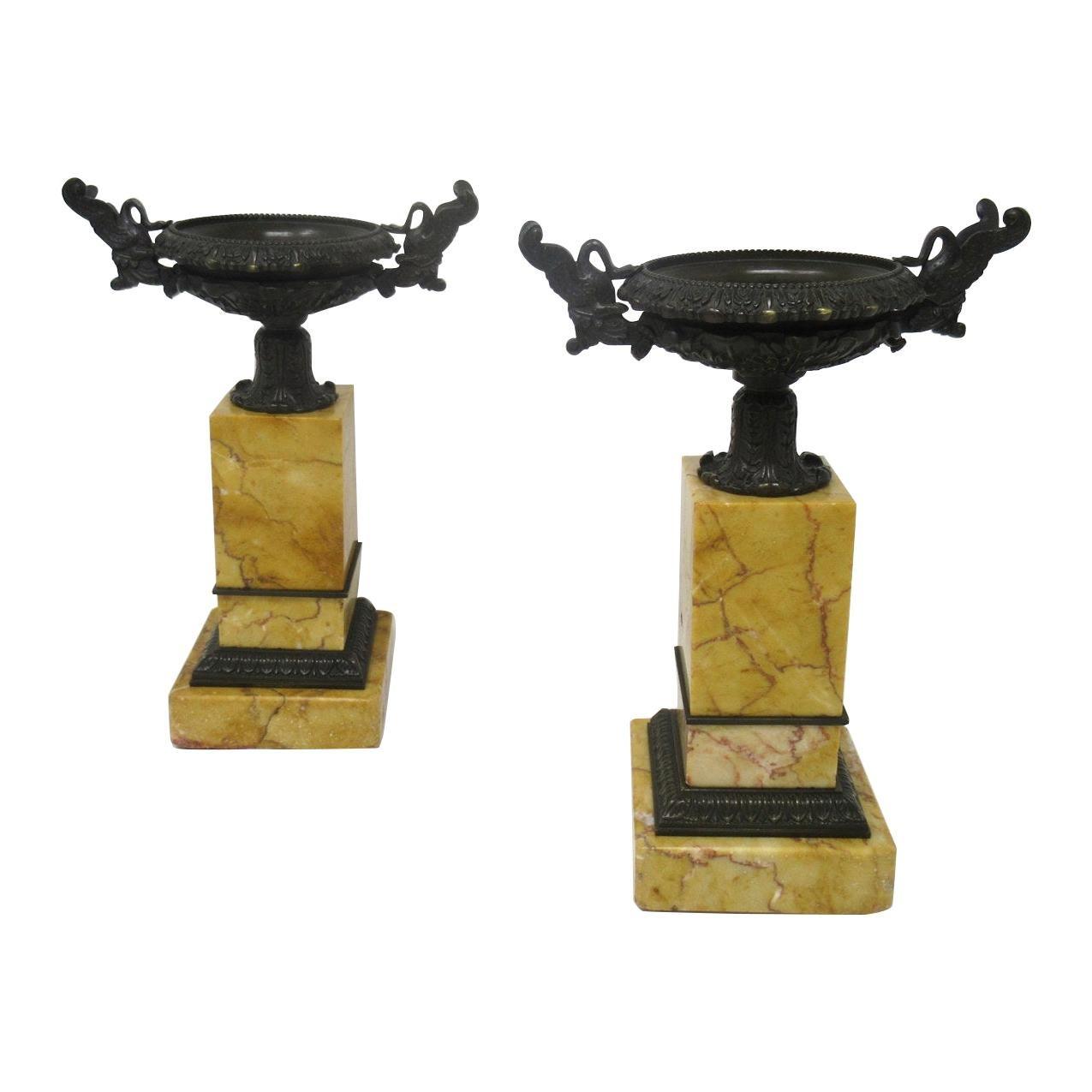 Antique Pair of Grand Tour Empire Bronze Dore Sienna Marble Tazza Urns Vases