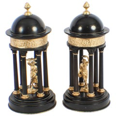 Antique Pair of Grand Tour Marble & Ormolu Colonnade Temple Models, 19th Century