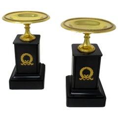 Antique Pair of Grand Tour Ormolu Bronze Black Marble Tazza Urns Clock Garniture