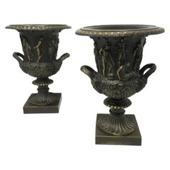 Antique Pair of Grand Tour Style Borghese or Medici Bronze Campana Urns Vases