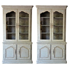 Antique Pair of Gustavian Louis XV Style Bookcases, 19th Century