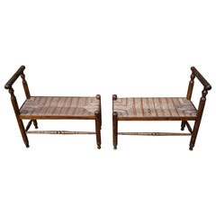 Antique Pair of Handcrafted Wood & Rush Seat Country House Stools / Hall Benches