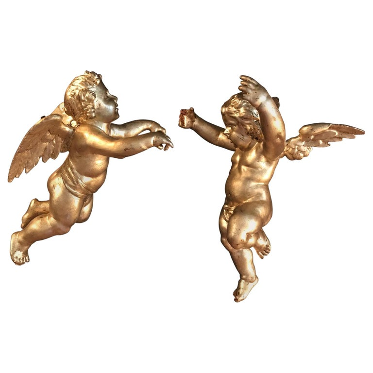 Antique Pair of Hanging Italian Hand Carved Wood Gilded Putti, Cherub, Angels For Sale
