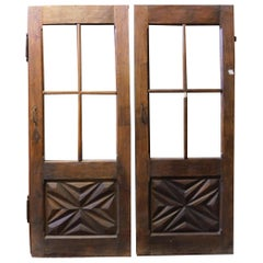 Antique Pair of Identical Glass Doors with Sculpted Diamond, Early 1800, Italy