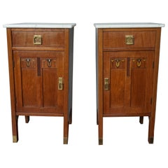 Antique Pair of Inlaid Arts and Crafts Nightstands / Bed Cabinets w. Marble Tops