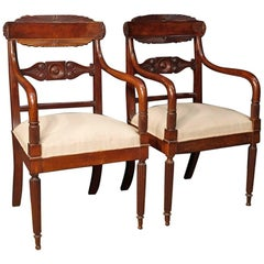 Antique Pair of Italian Armchairs in Carved Mahogany Wood from 19th Century
