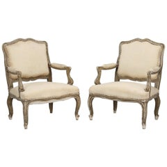 Antique Pair of Italian Armchairs in Original Paint