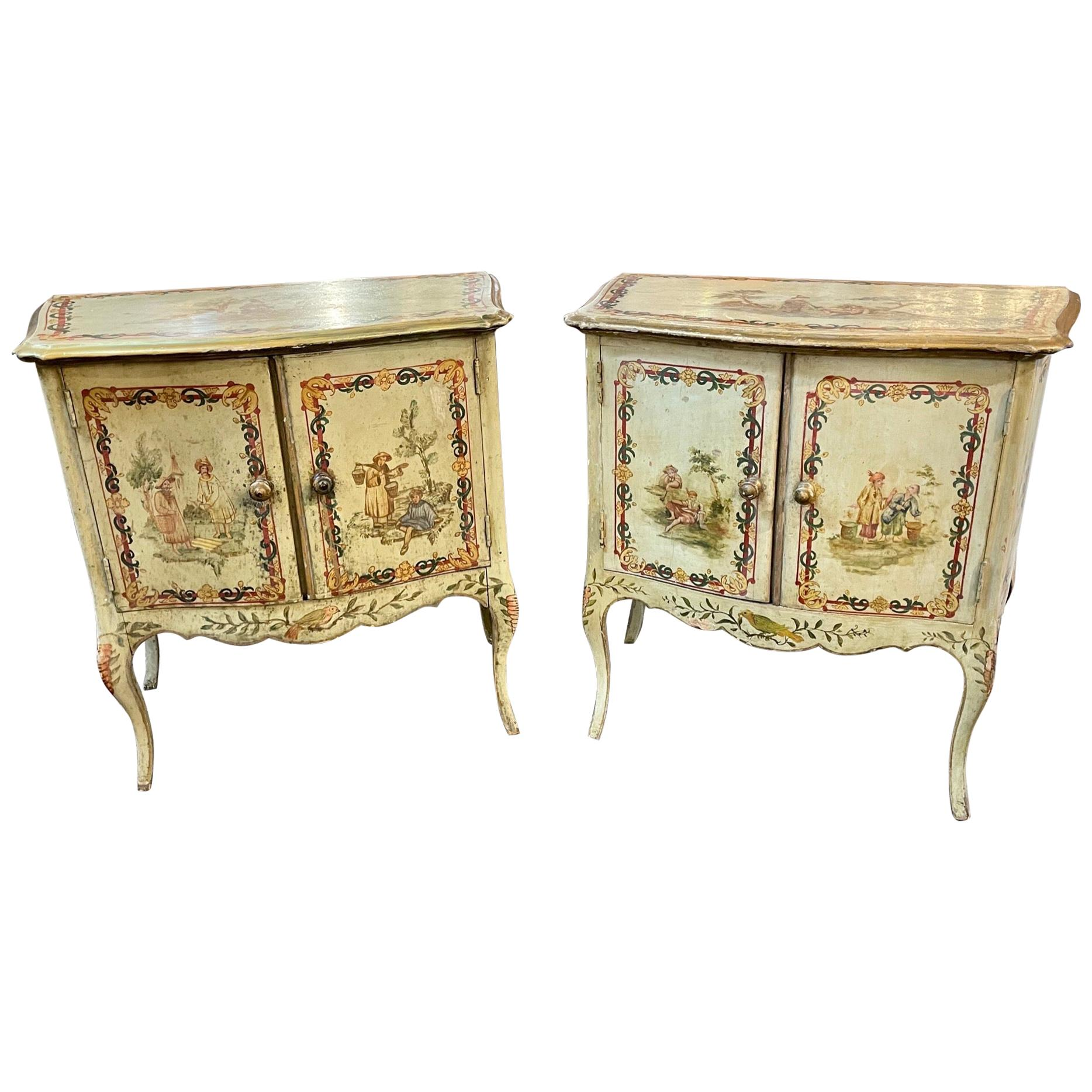Antique pair of Italian Chinoiserie Decorated Bedside Tables