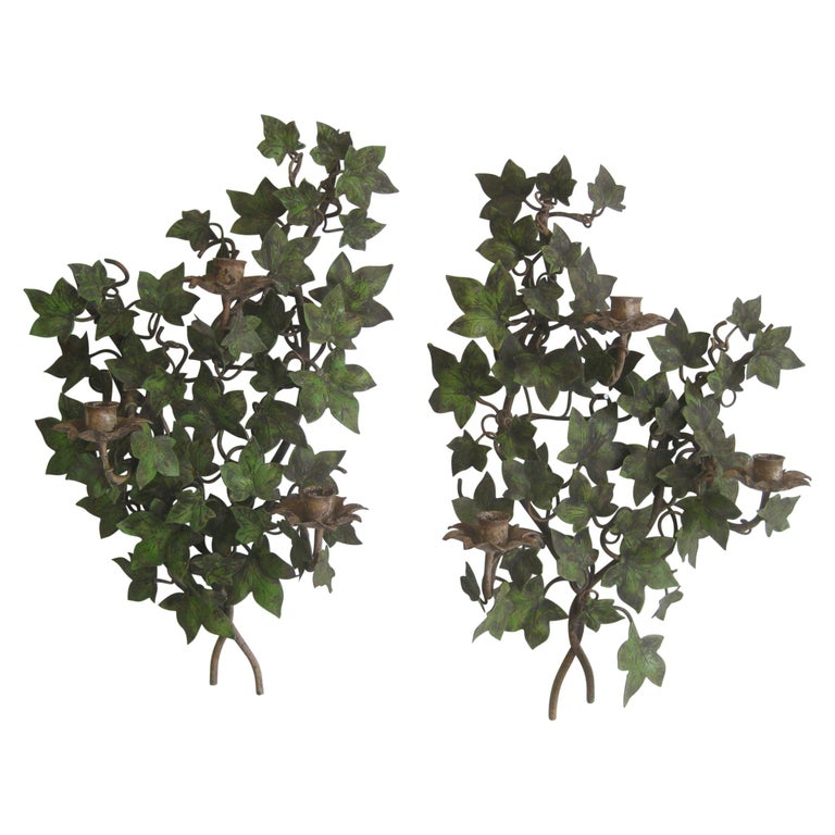 Antique Pair of Italian Hand Painted Metal Ivy Flowers Tole Wall Candle Sconces For Sale