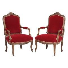 Antique Pair of Italian Louis XV Style Armchairs circa 1900-1920 in Mohair