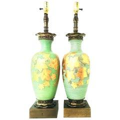 Pair of Italian Venetian Art Glass 22-Karat Gold and Brass Gold Table Lamps