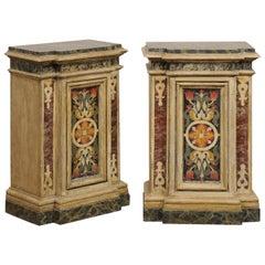 Antique Pair of Italian Wooden Pedestals with Original Artisan Paint
