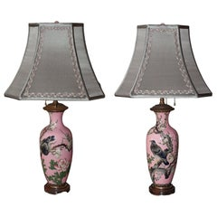 Antique Pair of Japanese Handpainted Pink Porcelain Lamps with Silver Shades