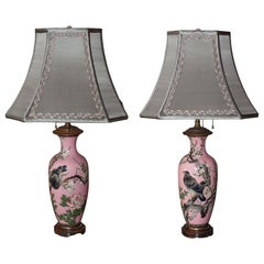 Antique Pair of Japanese Pink Porcelain Lamps
