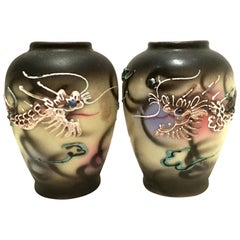 Antique Pair of Japanese Porcelain Hand Painted Dragon Ware Vases