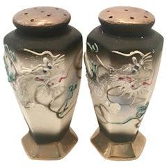 Antique Pair Of Japanese Porcelain Moriage Dragware Salt & Pepper Shaker
