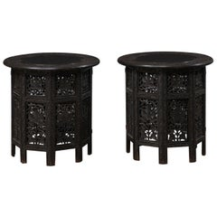 Antique Pair of Kashmir Tea Tables with Ornately-Carved Bases and Tops