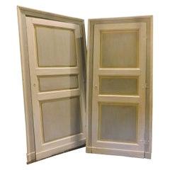 Antique Pair of Lacquered Doors, Original Frame, 19th Century, Italy