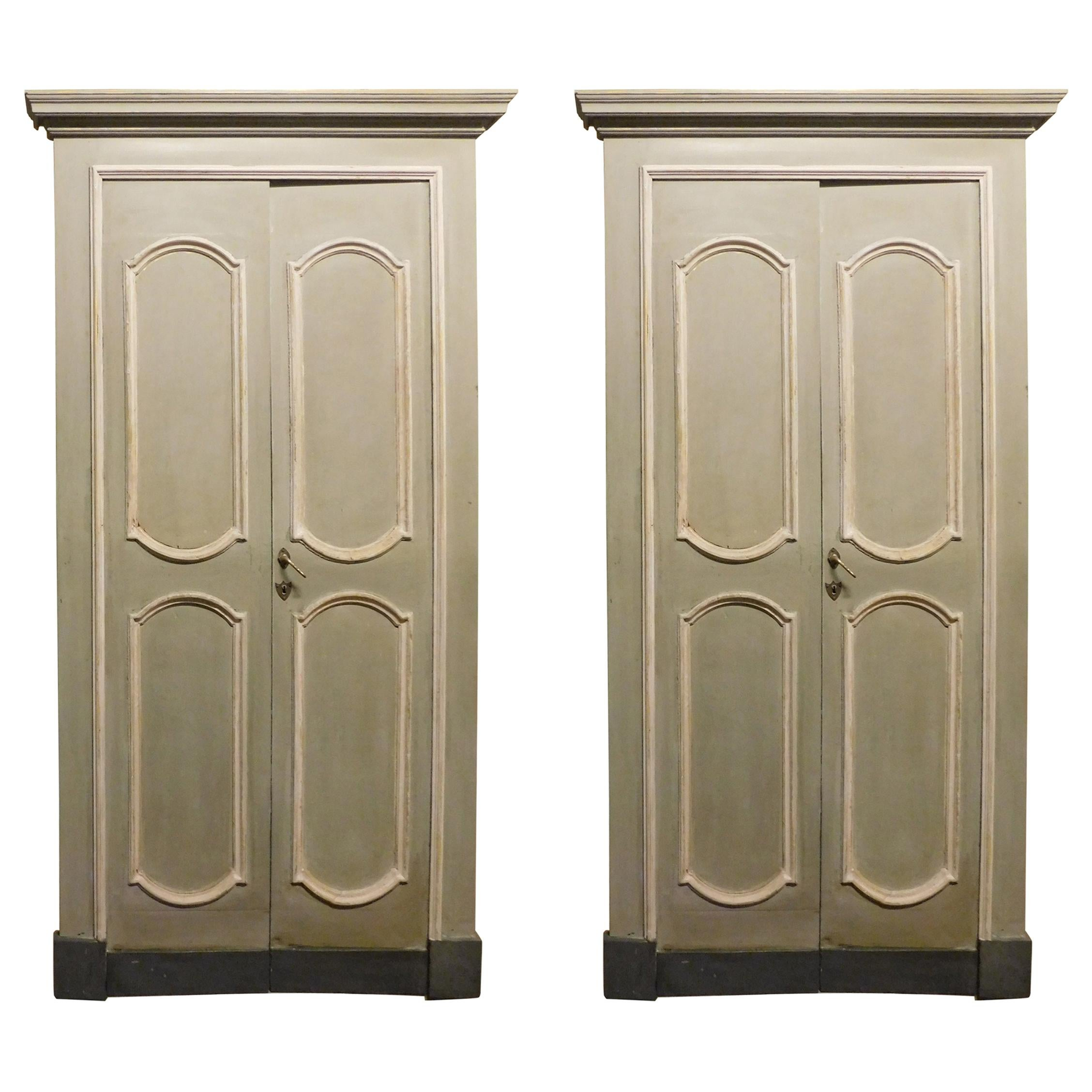 Antique Pair of Lacquered Double Doors with Frame, 18th Century, Italy