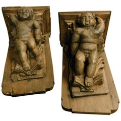 Antique Pair of Larch Wood Shelves, Brown Carved with Angels, 1600, Spain