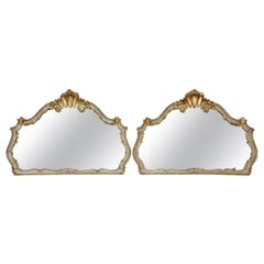 Antique Pair of Large Decorated Gilt Wall Mirrors, 19th Century