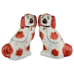 Antique Pair of Large English Staffordshire Pottery Dogs, Spaniels, circa 1900