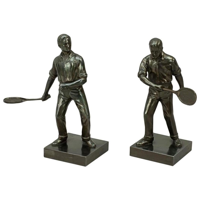 Antique Pair of Lawn Tennis Figures in Spelter, Doherty Brothers