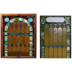 Antique Pair of Leaded Stained & Slag Glass Windows, 19th Century